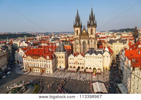 PRAGUE, CZECHIA - SEPTEMBER 04: aerial view of the old town square with historical buildings and unidentified people on September 04, 2014 in Prague. The centre of Prague is protected by UNESCO.
