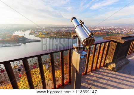 KOBLENZ, GERMANY-NOVEMBER 03,2015: view from Ehrenbreitstein Fortress on the German Corner. Its a fortress on the same named mountain. Its part of UNESCO World Heritage Site Upper Middle Rhine Valley