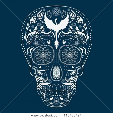 Dia de Muertos Tattoo Skull Ornate Day of The Dead