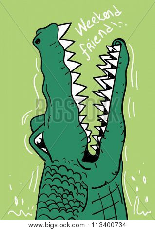 alligator illustration for kids clothing