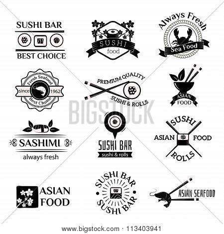 Sushi logo icons vector set