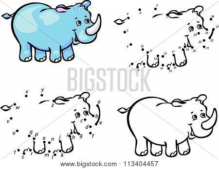 Cartoon Rhino. Vector Illustration. Coloring And Dot To Dot Game For Kids