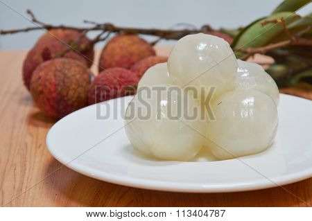lichee Asian fruit on dish