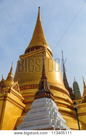 BANGKOK - DECEMBER 12: Golden Chedi at Wat Phra Kaew temple on December 12, 2014 in Bangkok, Thailand. Its among the best known of Thailands landmarks and was built in the seventeenth century