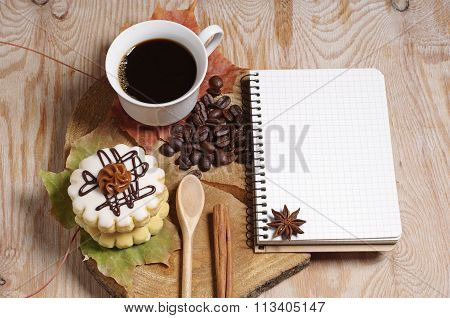 Coffee, Cake And Notebook