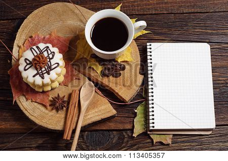 Coffee With Cake And Notebook