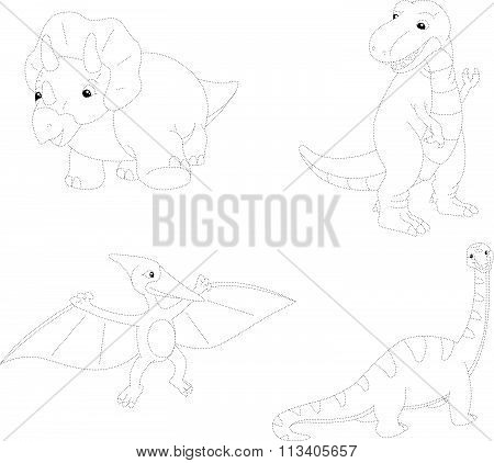 Set Of Diplodocus, Tyrannosaur, Pterodactyl And Triceratops. Dot To Dot Educational Game For Kids