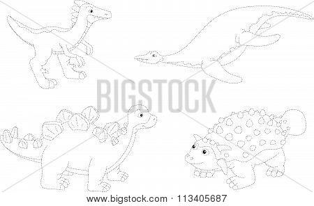 Set Of Parasaurolophus, Ankylosaurus, Ichthyosaurus And Stegosaurus. Dot To Dot Educational Game For