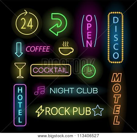 Light neon labels vector illustration. Neon labels font decorative symbols. Night neon light bright symbol. Neon symbols, neon light, neon bright. Lighting neon text objects