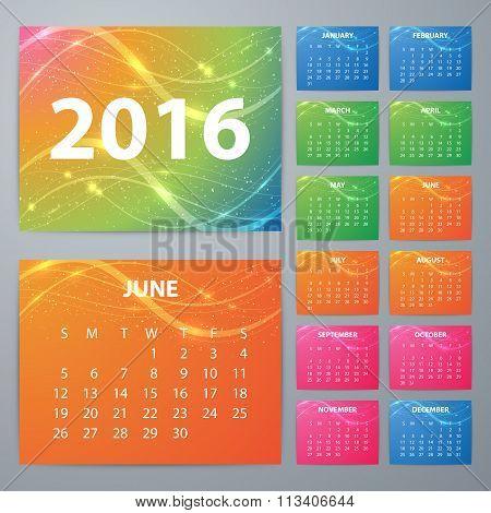 Stock Vector Calendar for 2016