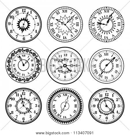 Clock watch alarms black vector icons illustration. Clock face icons isolated on white background. Clocks, watch silhouette. Old, retro, modern and fashion clocks. Time tools icons, alarm, watch icons