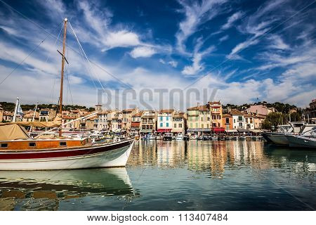 Colorful Buildings And Boat-cassis,france