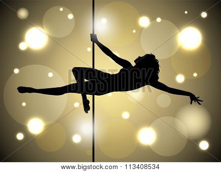 vector illustration of sexy female pole dancing
