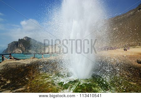 Blowhole at Al Mughsail beach in Oman