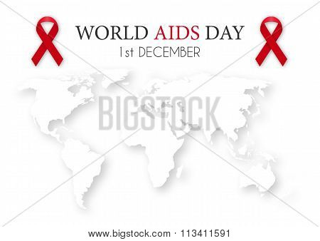 Vector illustration of world aids day. World map