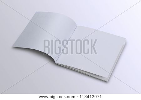 Folded White Blank Brochure Magazine Cover For Mock Up
