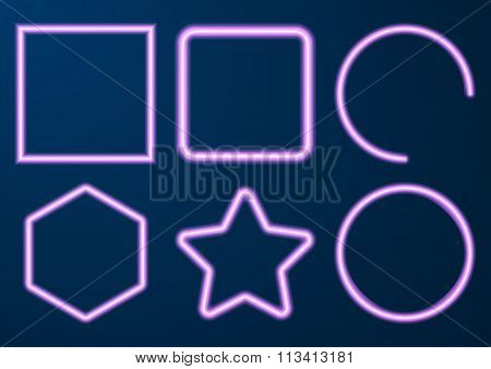 Vector illustration of a set neon figures
