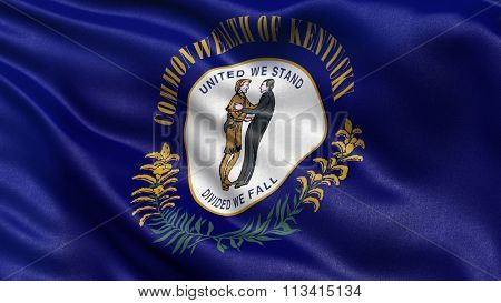US state flag of Kentucky with great detail waving in the wind.