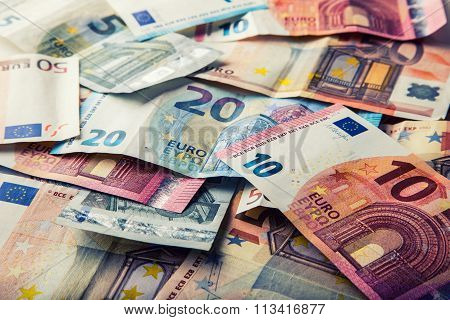 Euro banknotes. Euro money. Euro currency. Banknotes stacked on each other in different positions.Se