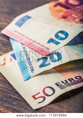 Several hundred euro banknotes stacked by value. Euro money concept. Euro banknotes. Euro currency.