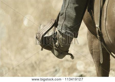A sepia cowboy boot.