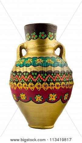 Gold Painted Pottery Egyptian Drinking Vessel (arabic: Kolla)