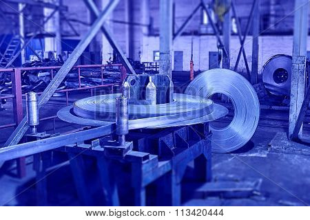 Steel Sheet Is Wound On A Roll On A Special Machine