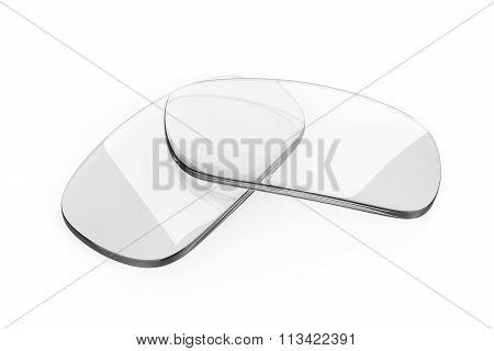 Pair of eyeglasses lens on white background poster