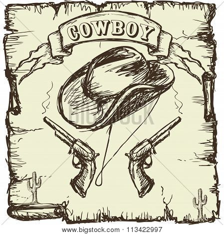 Vector illustration  cowboy hat and revolvers