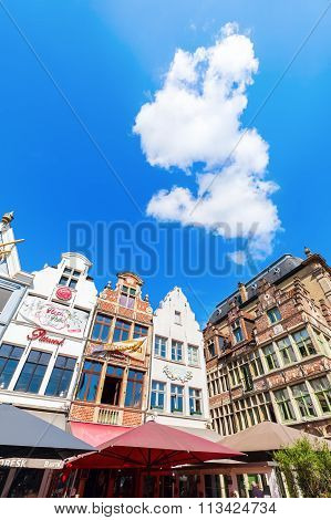 GHENT, BELGIUM - SEPTEMBER 03, 2015: gables of old houses at the Vrijdagsmarkt. Ghent is famous for the medieval old town and is 2nd largest municipality by number of inhabitants in Belgium