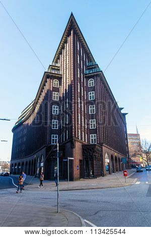 HAMBURG, GERMANY - MARCH 09: Chile House with unidentified people on March 09, 2014 in Hamburg. The Chile House  is an exceptional example of the 1920s Brick Expressionism style of architecture.