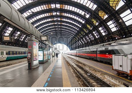 MILAN, ITALY - FEBRUARY 20: view of the Milan main station on February 20, 2014 in Milan. It is a terminal station and one of the most important stations in the European public transport network
