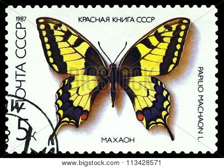 Vintage  Postage Stamp. Butterfly Papilio Machaon.