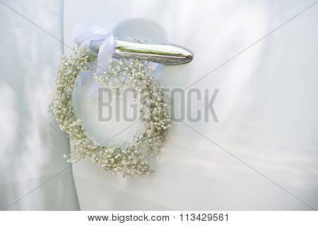 wer arrangement tied to a wedding car process color. poster
