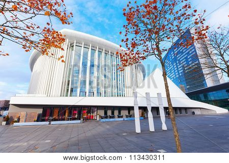 LUXEMBOURG, LUXEMBOURG - NOVEMBER 04, 2015: Philharmonie Luxembourg on Kirchberg plateau, opened in 2005, now plays host to 400 performances each year and is one of the main concert halls in Europe