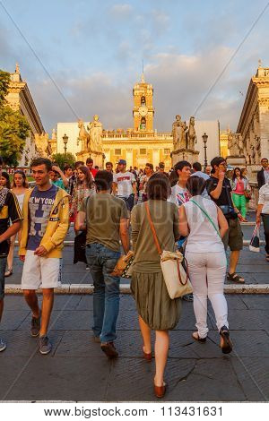 ROME - JULY 01: unidentified people walking upstairs to the Capitoline Hill on July 01, 2014 in Rome. The Capitoline Hill is one of the seven hills of Rome. It was the citadel of the earliest Romans.