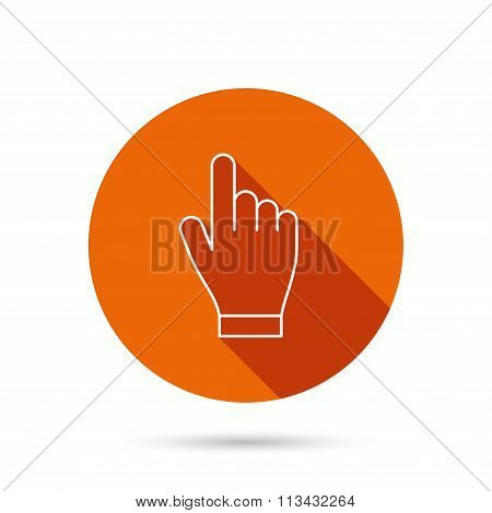 Click hand icon. Press or push pointer sign.