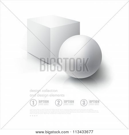 Realistic 3D White Ball And White Cube. Ball And Cube On White Background With Reflection. Design Te