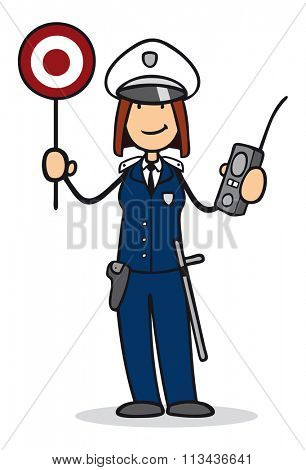 Smiling cartoon woman as police officer during trafic check