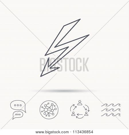 Lightening bolt icon. Power supply sign.