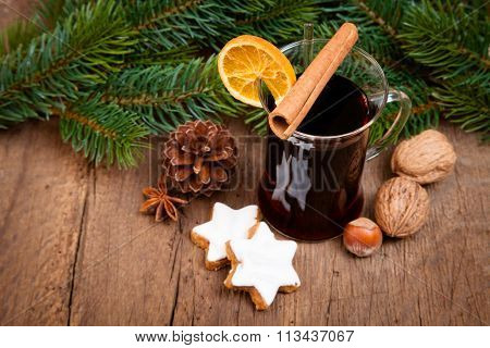 Fine served glass of mulled wine