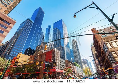 NEW YORK CITY - OCTOBER 12, 2015: street view in Manhattan, NYC. The metropolitan area NYC is one of the most important economy areas and commercial center of the world