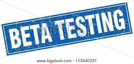 Beta Testing Blue Square Grunge Stamp On White