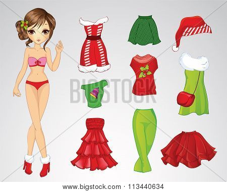 Paper Christmas Brunette Doll