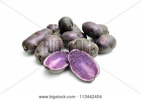 Purple Potatoes On White