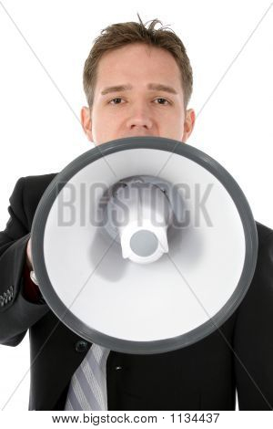Attractive Young Business Man With Bullhorn