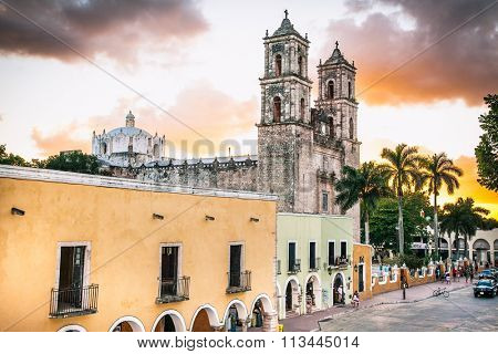VALLADOLID, MEXICO - NOV 28, 2015: The Cathedral of San Gervasio was built in the 16th century and still retains its splendor in the heart of historical downtown Valladolid, Mexico