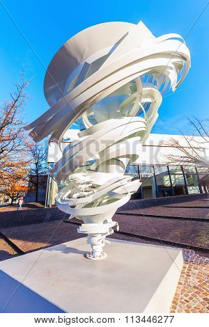 HANOVER, GERMANY - DECEMBER 03, 2015: sculpture in front of the Sprengel Museum. called Another Twister it was designed by Alice Aycock and erected September 2015 to the completion of the Museum
