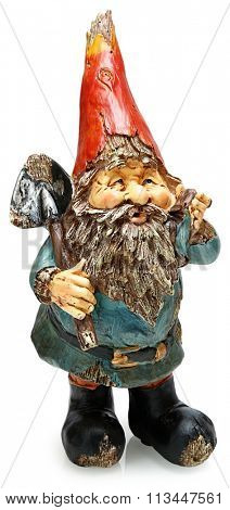 Adorable wooden garden gnome with shovel. Standing. Isolated over white.