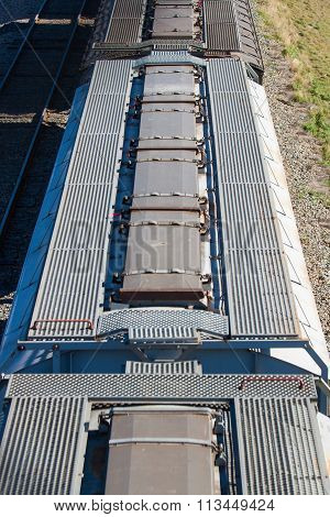 Overhead View Of Grain Cars